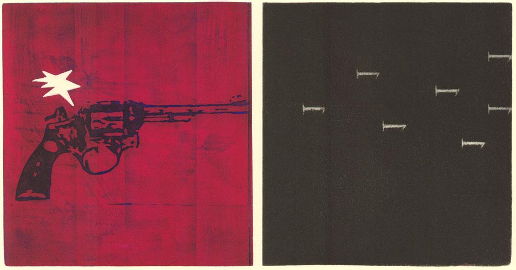 Ruleta Rusa (1999) Aguafuerte y manera negra. 2 Pls 260x240mm. c/ud. Pp. 560x760mm.